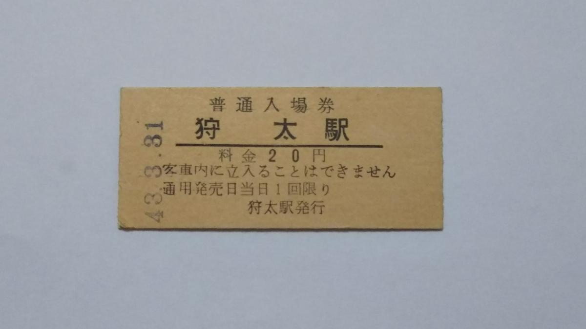 国鉄 函館本線 狩太駅 20円 入場券