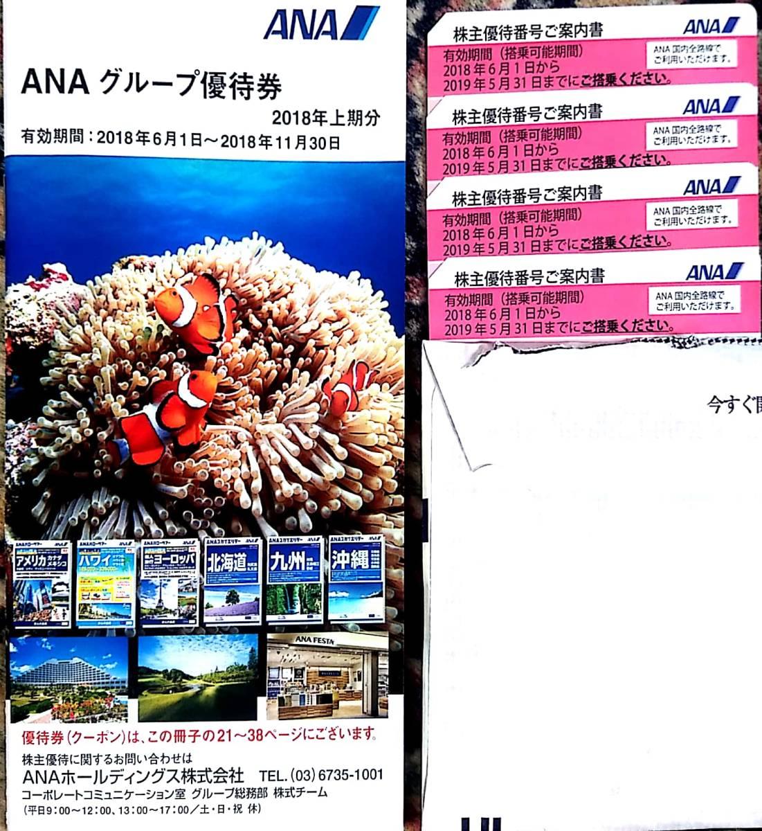 送料無料!!ANA株主優待券4枚セット!*有効期間2019年5月31日まで