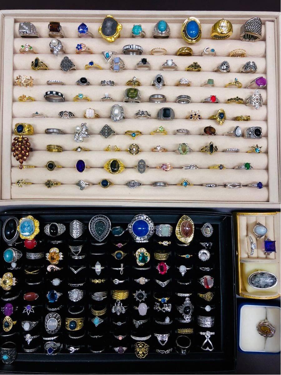 指輪 200点 大量セット ビンテージ アンティーク リング まとめて 天然石 シルバー 色石 925 豪華 昭和レトロ まとめ売り