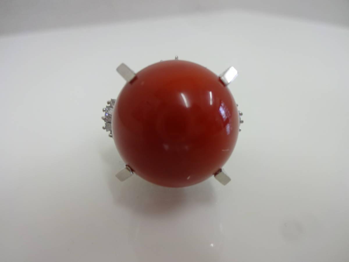 1円 血赤珊瑚 大玉18mm pt900 リング D1.05ct  サイズ9号 21.2g