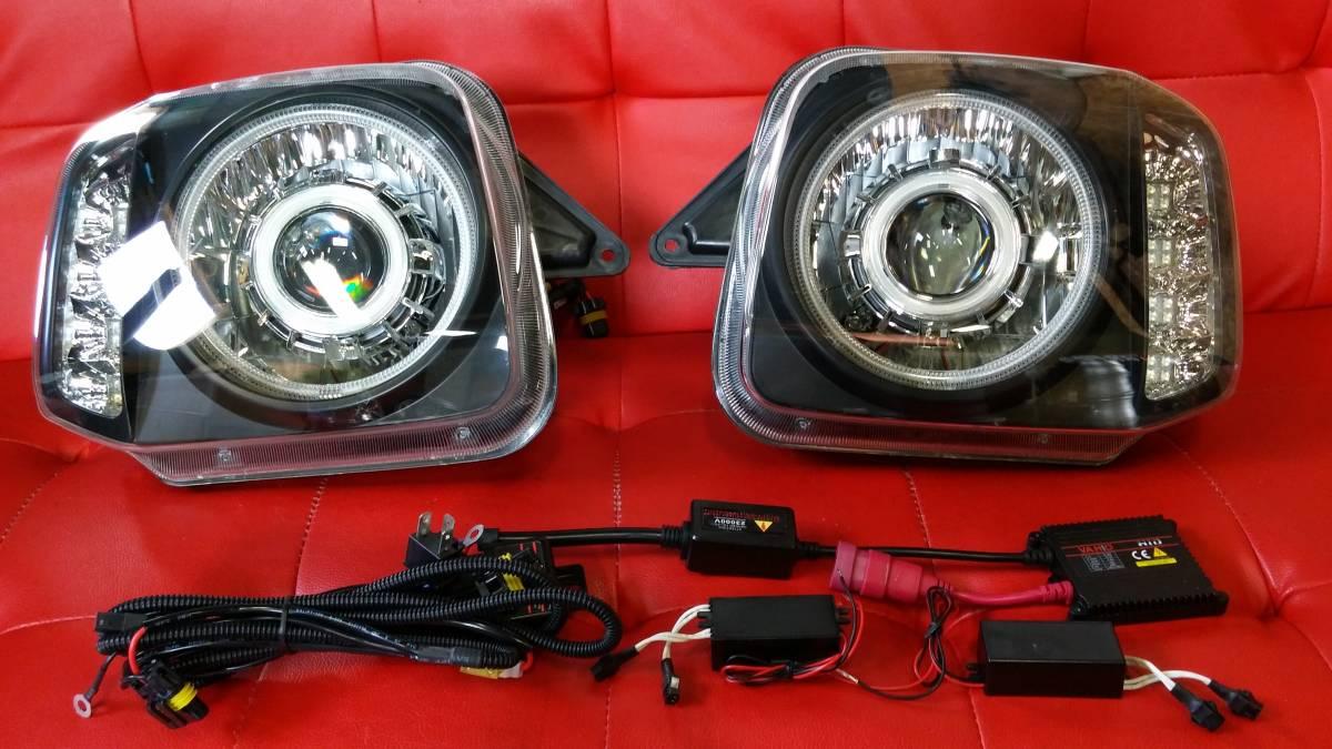 100円スタート『訳アリ』JB23 ジムニー CCFL リング 付き LED ウィンカー ヘッド ライト プロジェクター組み込み