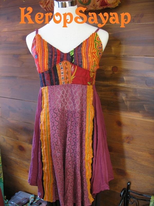 モン族刺繍生地×レース キャミソール型チュニックPUパープル紫系 夏フェスレイブに♪アジアンエスニック民族_画像1