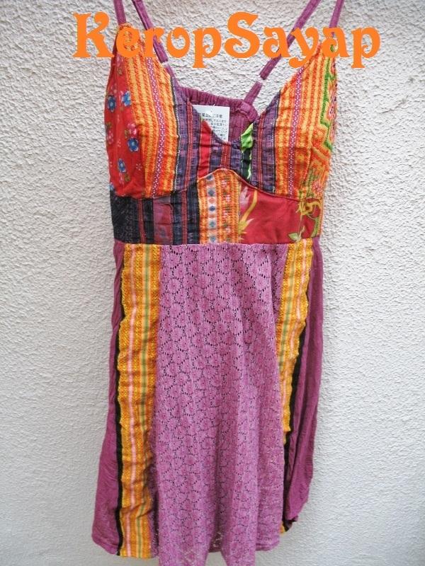 モン族刺繍生地×レース キャミソール型チュニックPUパープル紫系 夏フェスレイブに♪アジアンエスニック民族_画像3