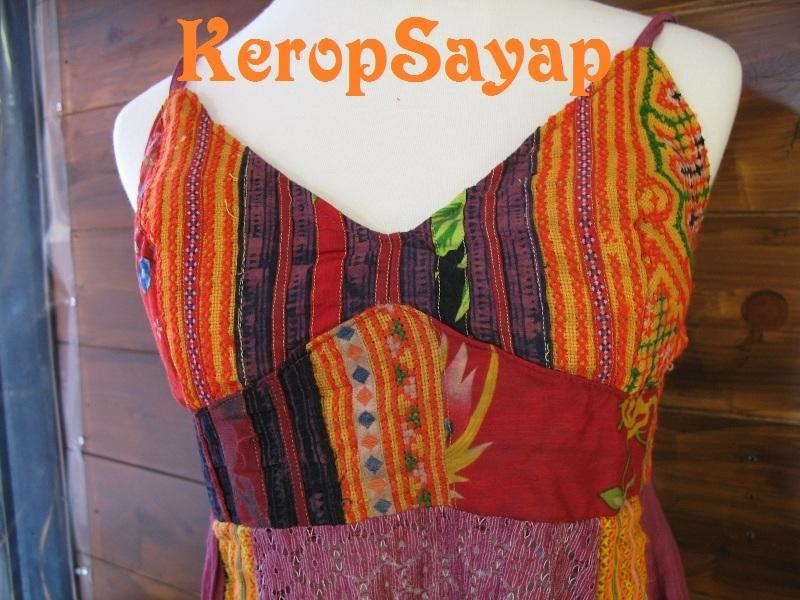 モン族刺繍生地×レース キャミソール型チュニックPUパープル紫系 夏フェスレイブに♪アジアンエスニック民族_画像2