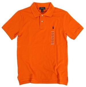 新品 アウトレット 11829 XL(18-20)サイズ 半袖 シャツ ポロ ラルフ ローレン polo 鹿の子 オレンジ_画像1
