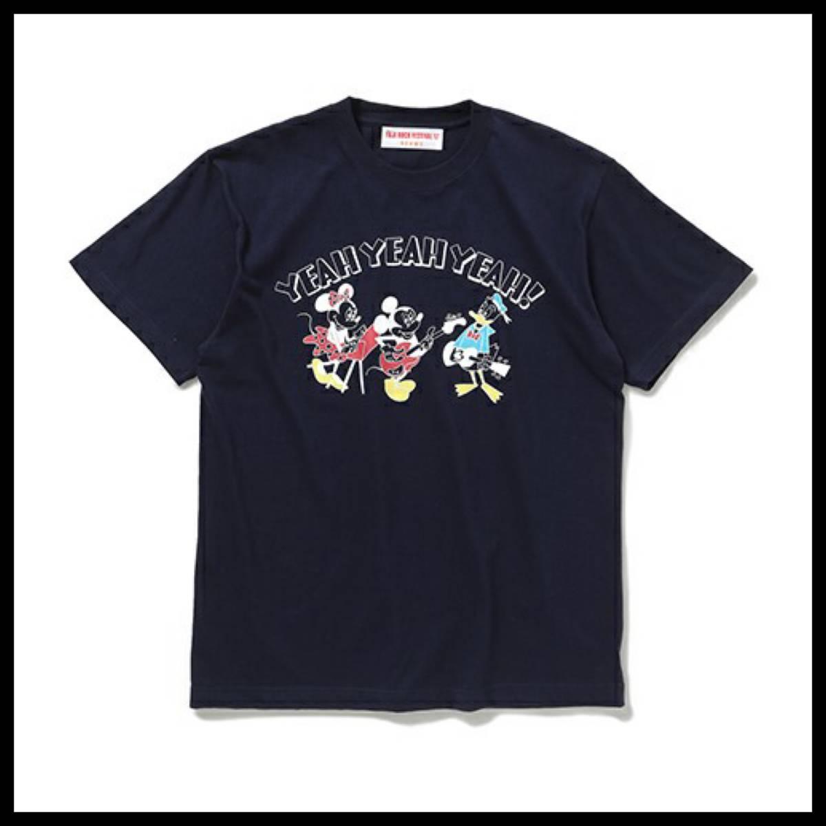 【送料無料】希少 FUJI ROCK FESTIVAL'17 × BEAMS / Yusuke Hanai ミッキーマウス YEAH YEAH YEAH! TShirt Mサイズ ネイビー 花井祐介
