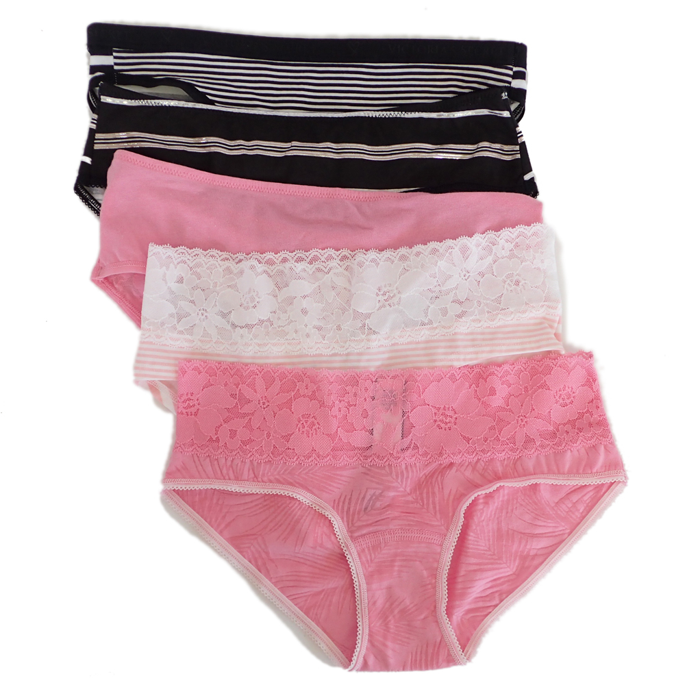 02433d1f57c4 [ including carriage * new goods unused ] Victoria Secret shorts bread tea  underwear stretch XS stripe race 5 pieces set I0474