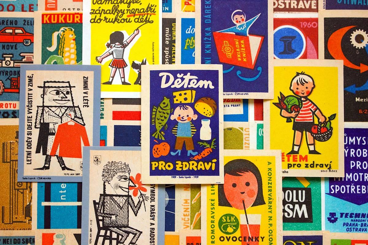 チェコの古いマッチラベル30枚セット02/ヴィンテージ アンティーク ヨーロッパ雑貨 チェコ雑貨 紙モノ イラスト ノベルティ 人 美品/