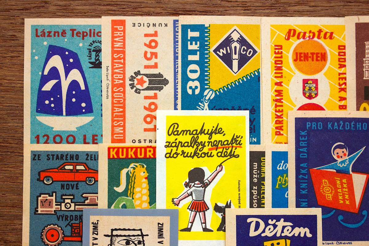 チェコの古いマッチラベル30枚セット02/ヴィンテージ アンティーク ヨーロッパ雑貨 チェコ雑貨 紙モノ イラスト ノベルティ 人 美品/_画像2