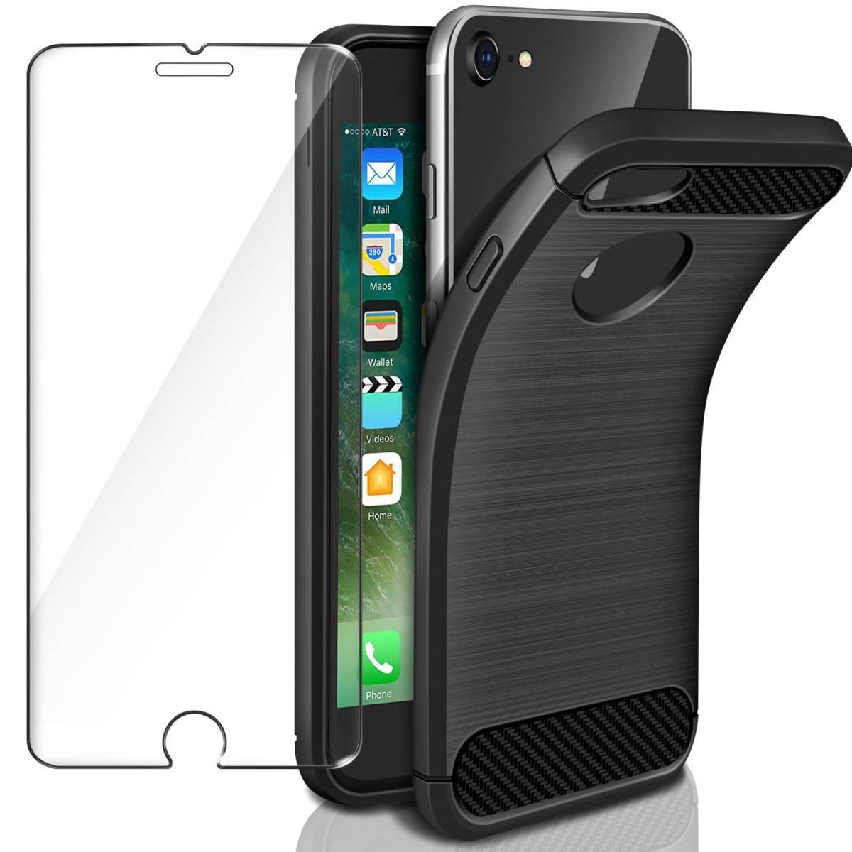 3c0ba281b8 【新品】 1円スタート [IVENCASE] iPhone8 ケース,iPhone7 ケース, 耐衝撃カバー ブラック+強化ガラス液晶保護フィルム