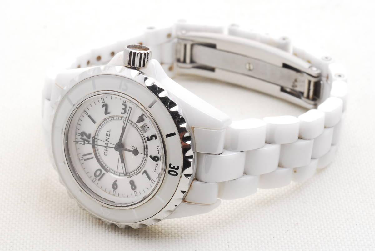 CHANEL シャネル J12 ホワイト セラミック メンズ クォーツ 腕時計_画像3