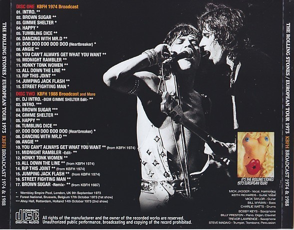 THE ROLLING STONES / EUROPEAN TOUR 1973: KBFH BROADCAST 1974 & 1988 (2CD) Numbered Stickered Edition 廃盤!_画像2