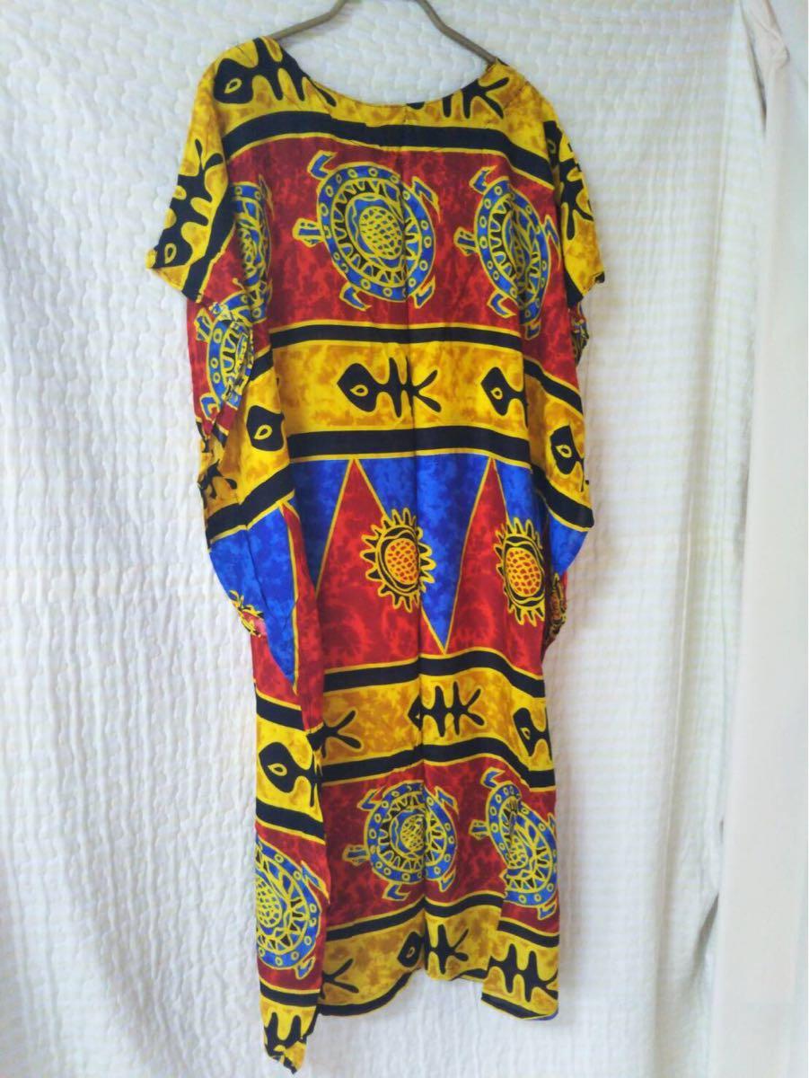 未使用 ムームー ハワイアン アロハ フラ サマードレス フラダンス 結婚式 サマードレス 花柄ワンピース サーフィン 水着 の上にも 36-3_画像2