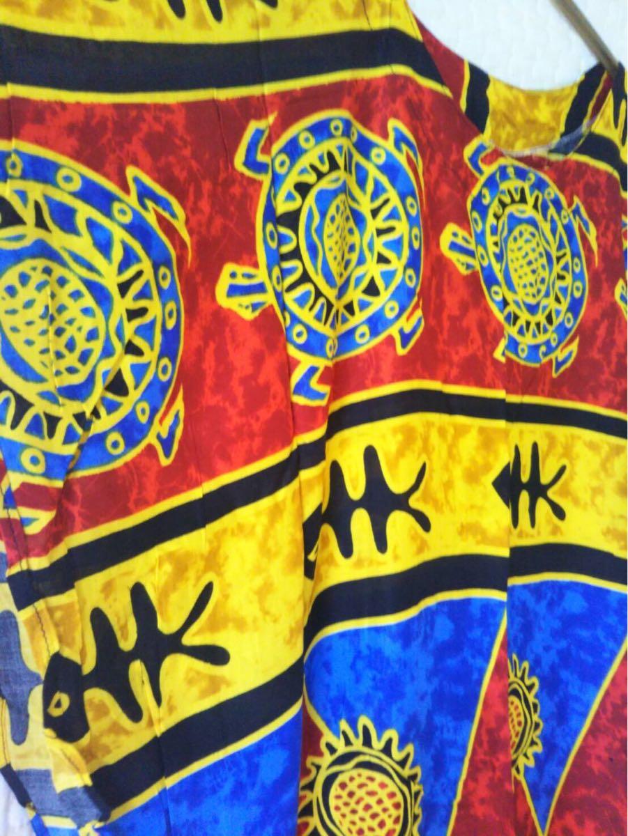 未使用 ムームー ハワイアン アロハ フラ サマードレス フラダンス 結婚式 サマードレス 花柄ワンピース サーフィン 水着 の上にも 36-3_画像4