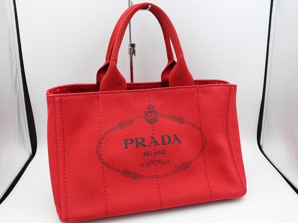◆超美品◆直営店印あり◆PRADA プラダ カナパ CANAPA トートバッグ Mサイズ ROSSO レッド 通勤 通学 人気  P50021