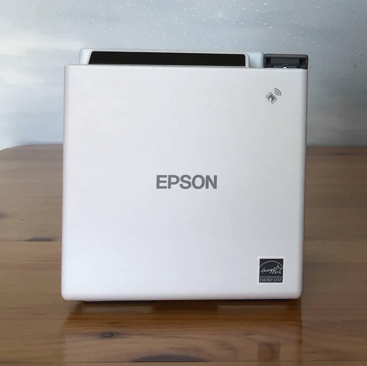 *送料無料*美品 EPSON コンパクトレシートプリンターTM-m10 Bluetooth 58mm 電源付き [ホワイト] POSレジ対応 スマレジ等