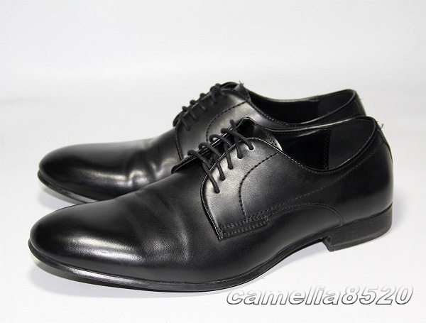 ZARA MAN ザラ プレーントゥ レースアップ ビジネスシューズ 黒 ブラック EU40 約24.5cm~25.0cm 美品 _画像1