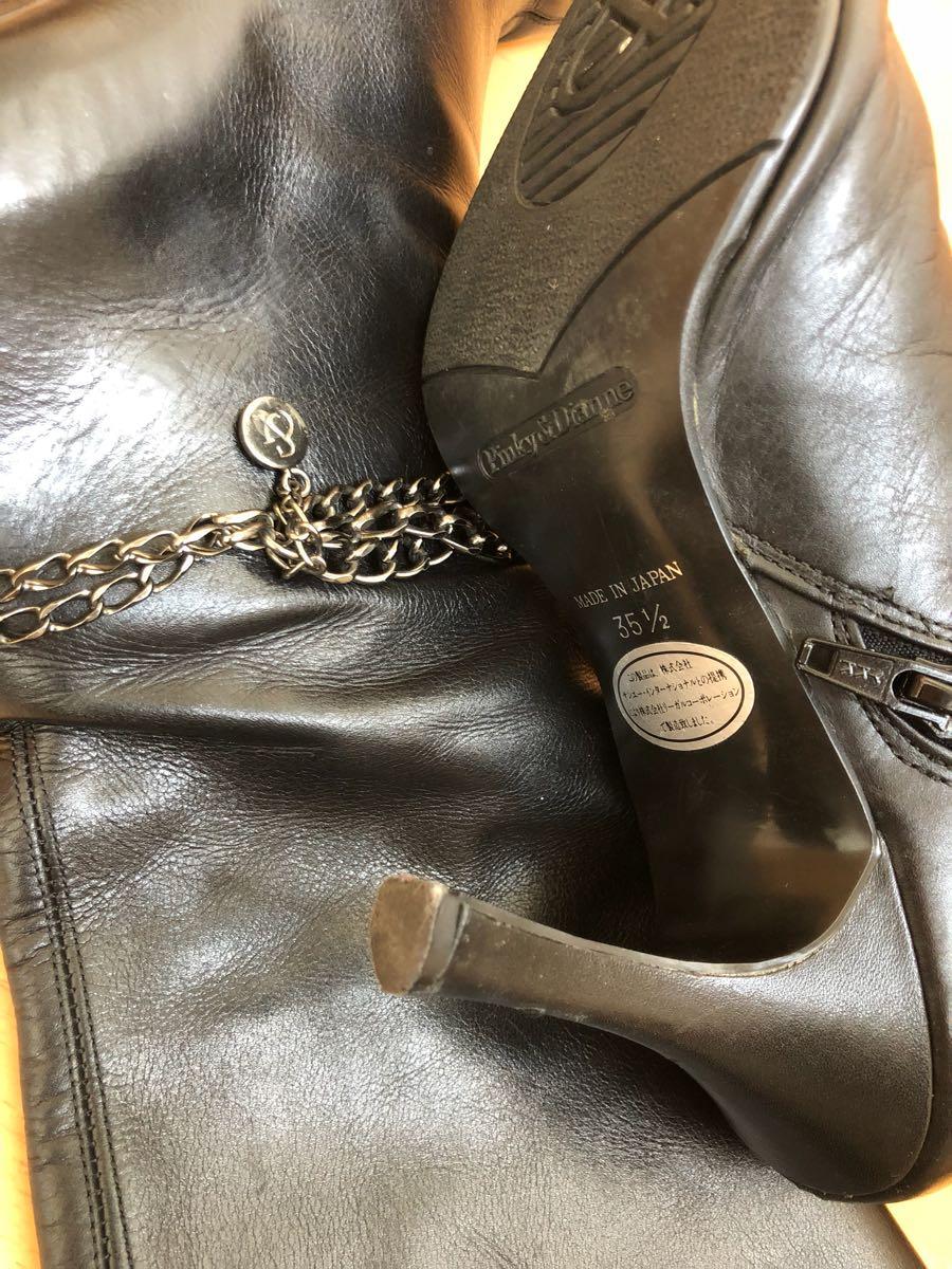 142★★《珍しいロングブーツ》左足にチェーンの黒光りピンヒールブーツ ☆ つま先とんがり女王様ブーツ ☆ ポインテッドトゥ ハイヒール_画像7