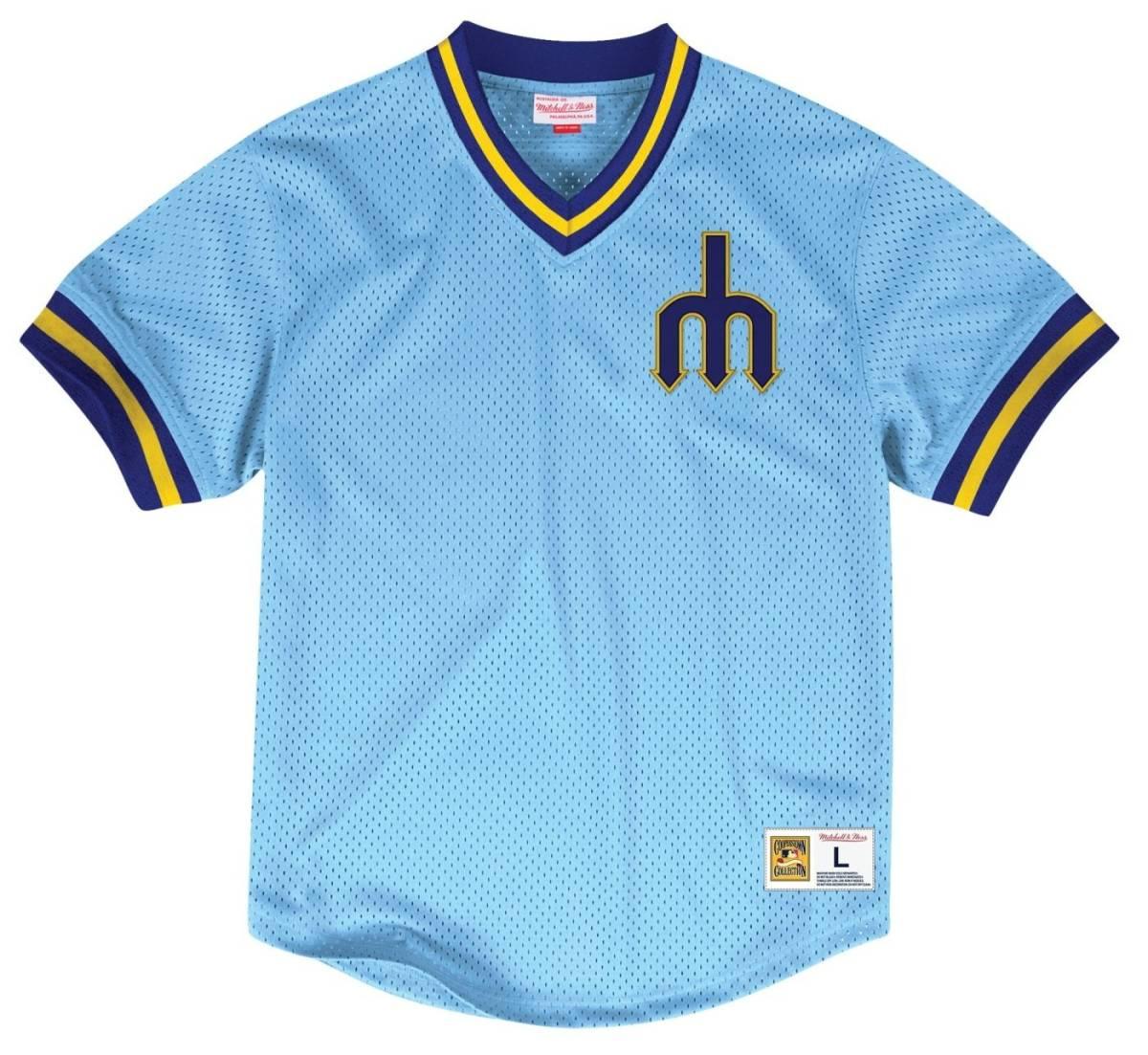 【S】 MITCHELL&NESS ミッチェル&ネス MLB ベースボールジャージ TeamWin ユニフォーム MARINERS シアトル マリナーズ USA正規品 水色_画像1