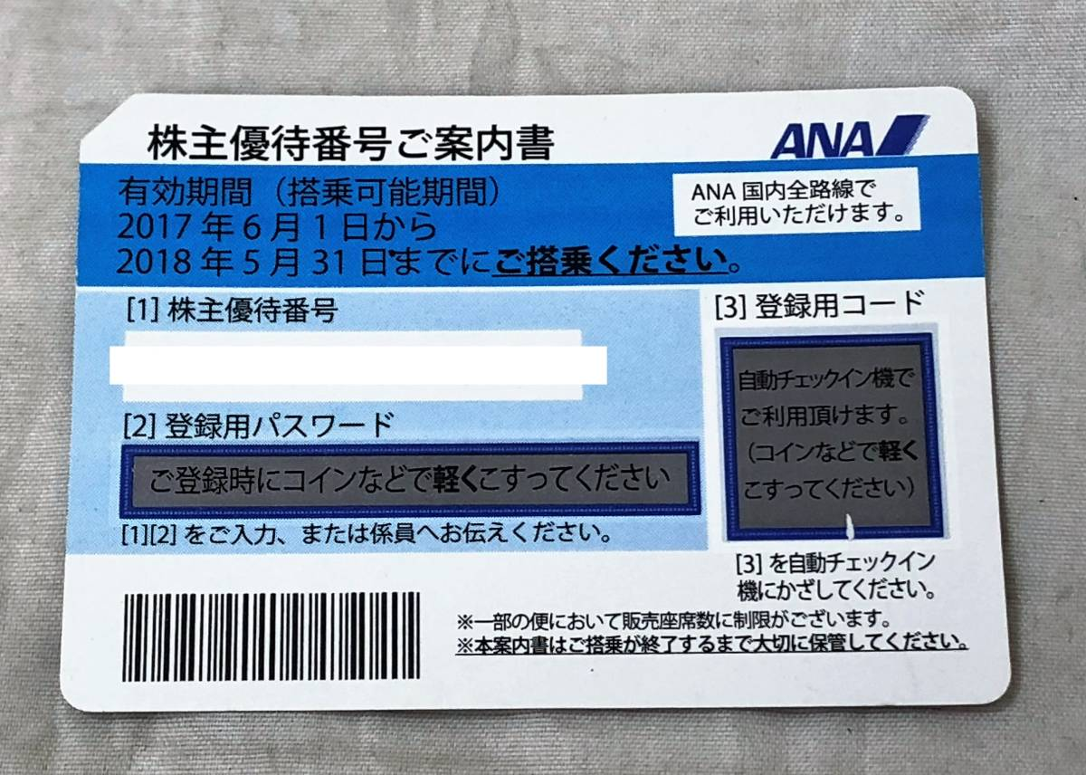 ANA株主優待券1枚 2018年5月31日まで
