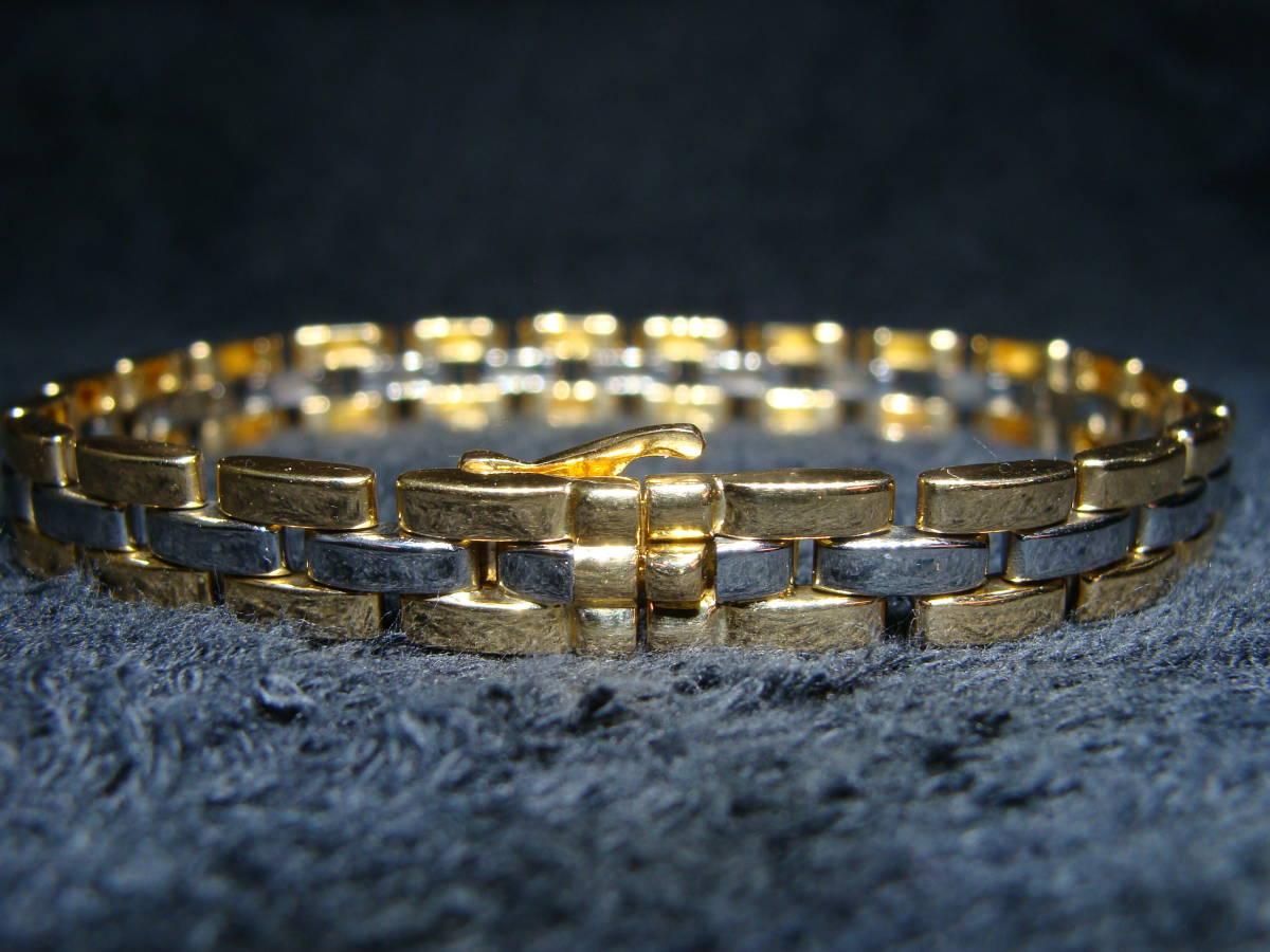 Cartier カルティエ ◇ マイヨン パンテール ゴールド シルバー コンビ ブレスレット ブレス ◇ 3ロウ 18 金 750 YG SS