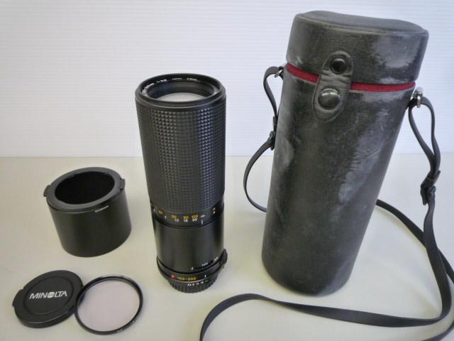 【値下げ】 ★MINOLTA/ミノルタ★ 望遠レンズ MD ZOOM 100-200mm 1:5.6 AC1B(SKYLIGHT)55mmスカイライトフィルター、レンズフードセット