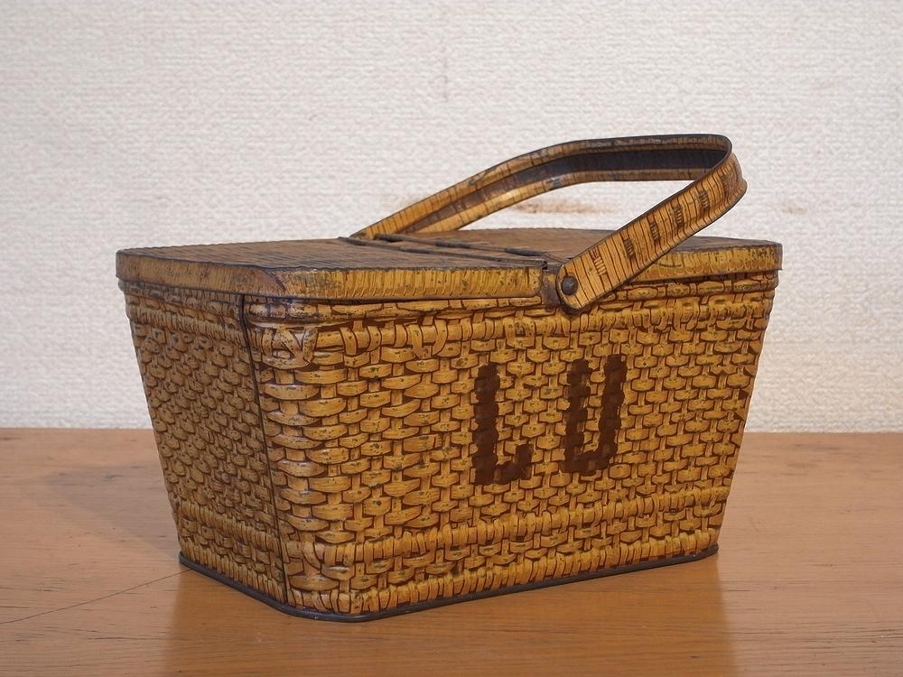 フランス アンティーク LU ブリキのビスケット用バスケット型容器 1900年代初期 仏 ブロカント シャビー キッチン雑貨 缶 小物入れ