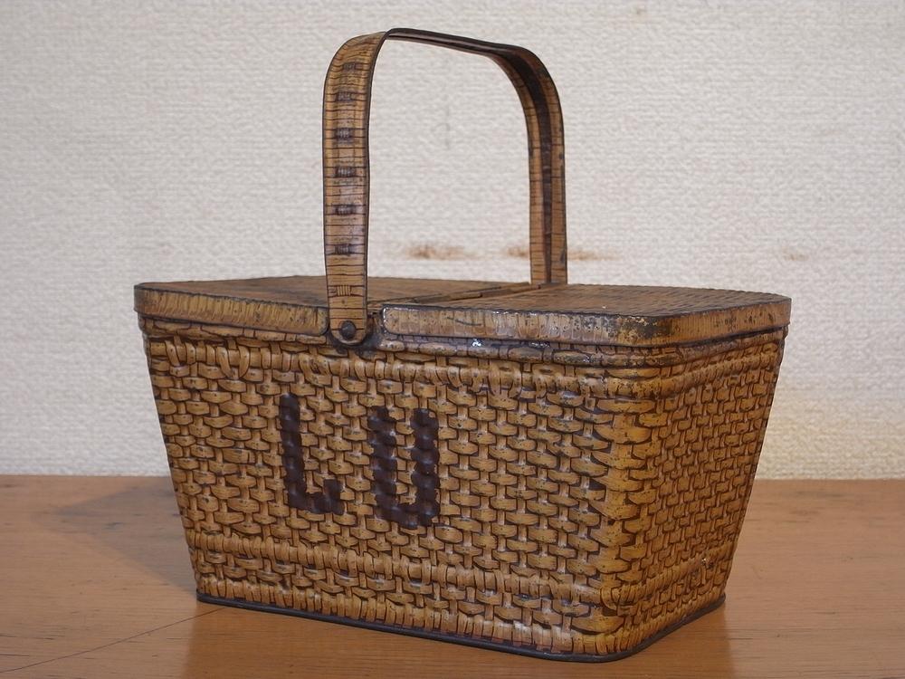 フランス アンティーク LU ブリキのビスケット用バスケット型容器 1900年代初期 仏 ブロカント シャビー キッチン雑貨 缶 小物入れ_画像2