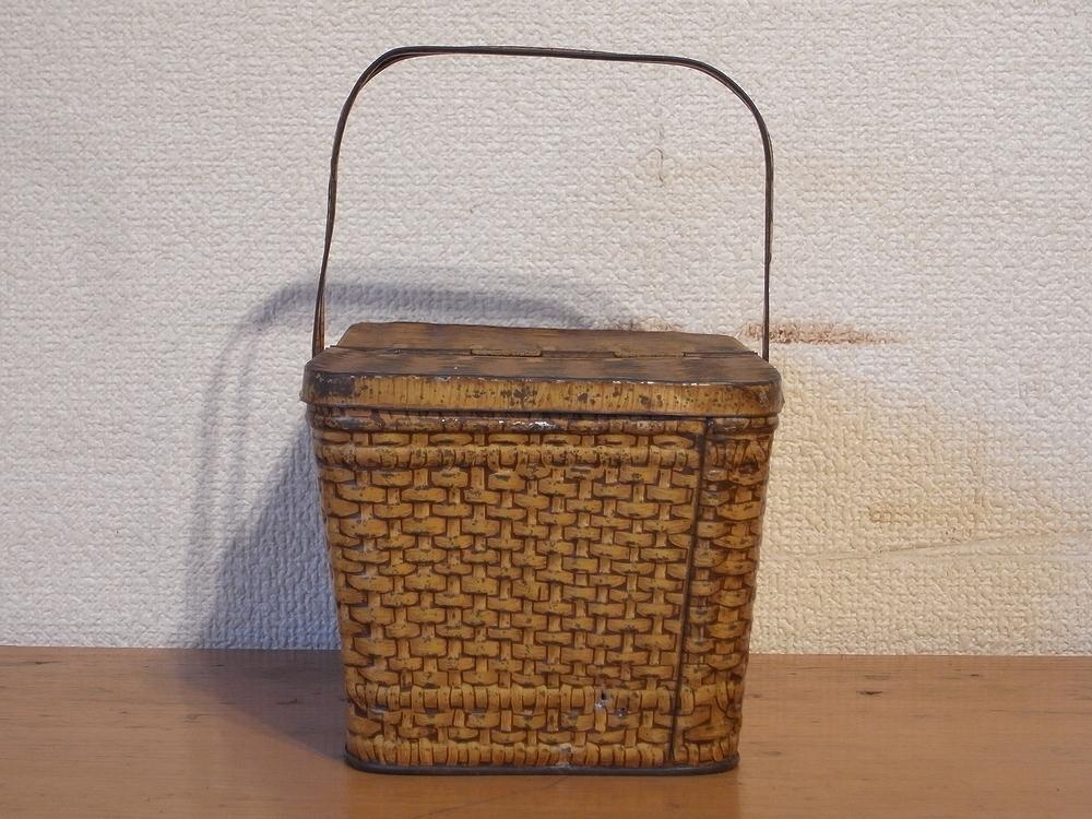 フランス アンティーク LU ブリキのビスケット用バスケット型容器 1900年代初期 仏 ブロカント シャビー キッチン雑貨 缶 小物入れ_画像3