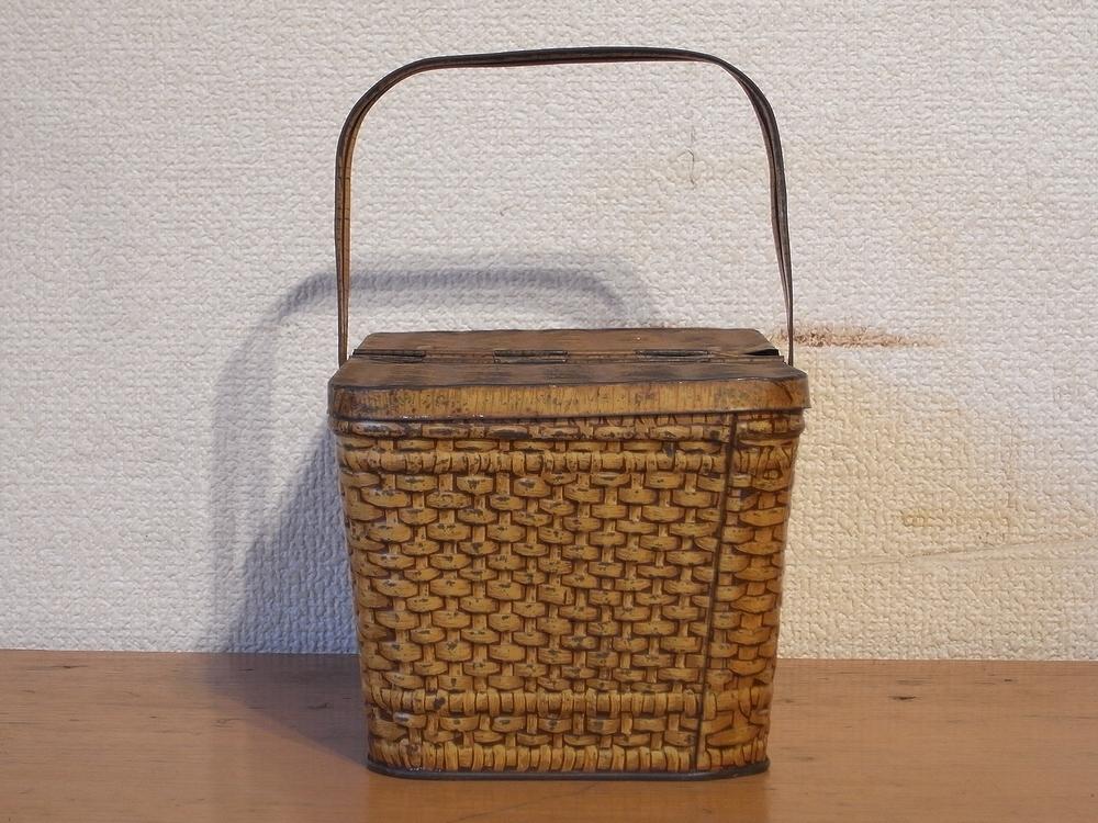 フランス アンティーク LU ブリキのビスケット用バスケット型容器 1900年代初期 仏 ブロカント シャビー キッチン雑貨 缶 小物入れ_画像4