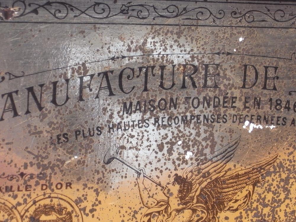 フランス アンティーク LU ブリキのビスケット用バスケット型容器 1900年代初期 仏 ブロカント シャビー キッチン雑貨 缶 小物入れ_画像10