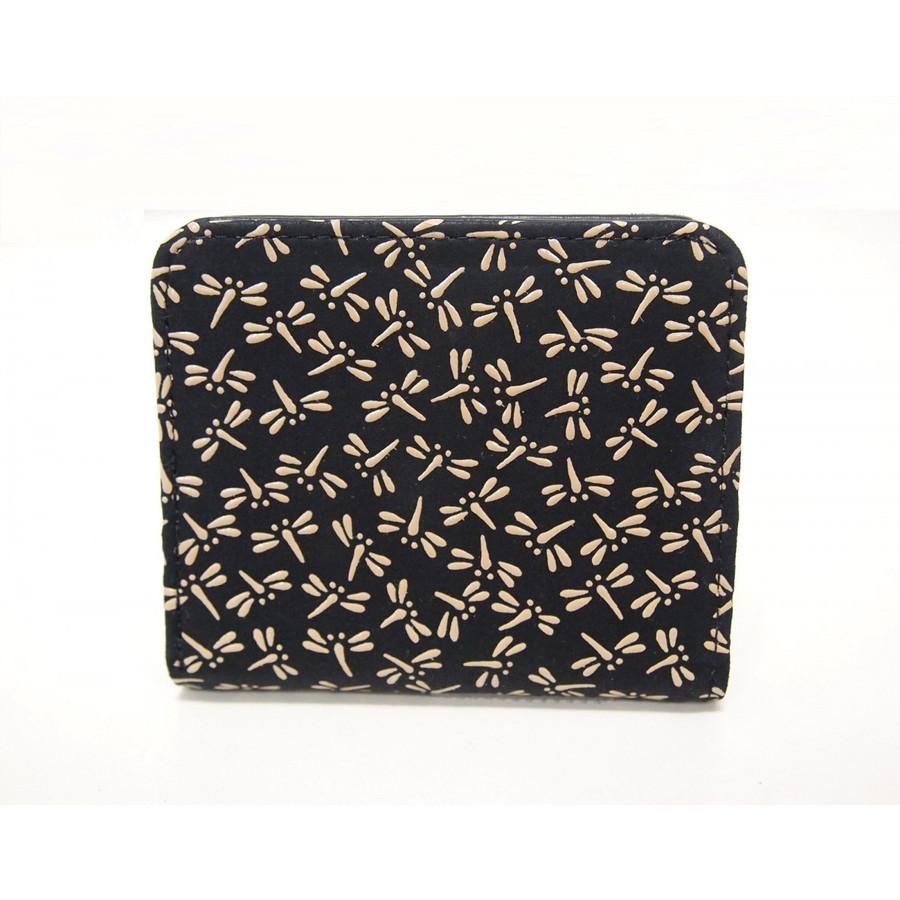 印伝 トンボ柄 ボックス型小銭入れ 二つ折り財布 ベージュ レディース新品 検索 box 鹿革 本革 牛革 見やすい とんぼ 綺麗 さいふ 財布_背面
