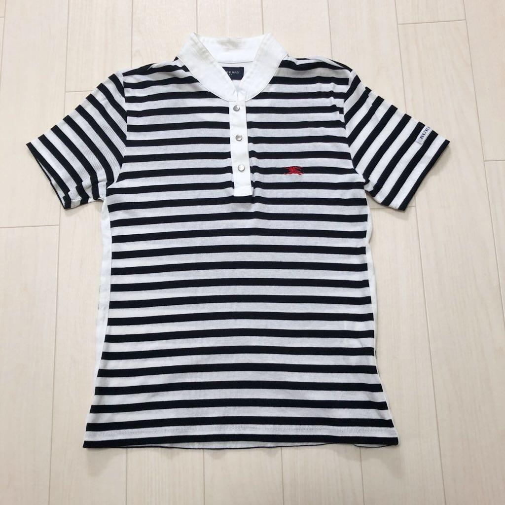 40910e2f94cb4 バーバリー ゴルフ Burberry GOLF 三陽商会 レディース ゴルフウェア ポロシャツ 日本製 ブラック×ホワイト