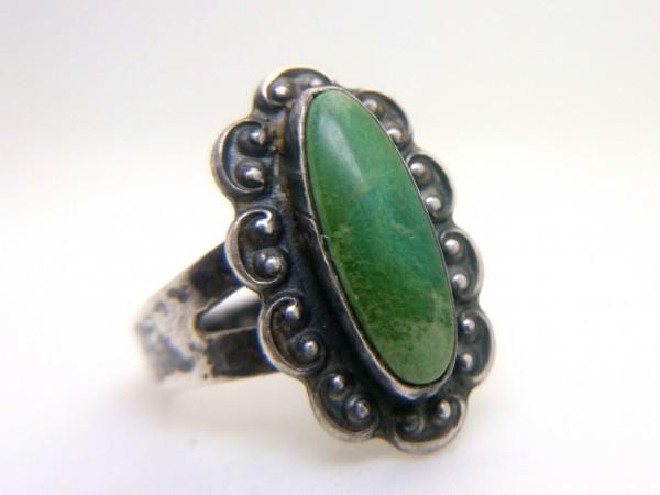 ナバホ ビンテージ シルバー製 グリーン ターコイズ リング フレッドハービー 指輪