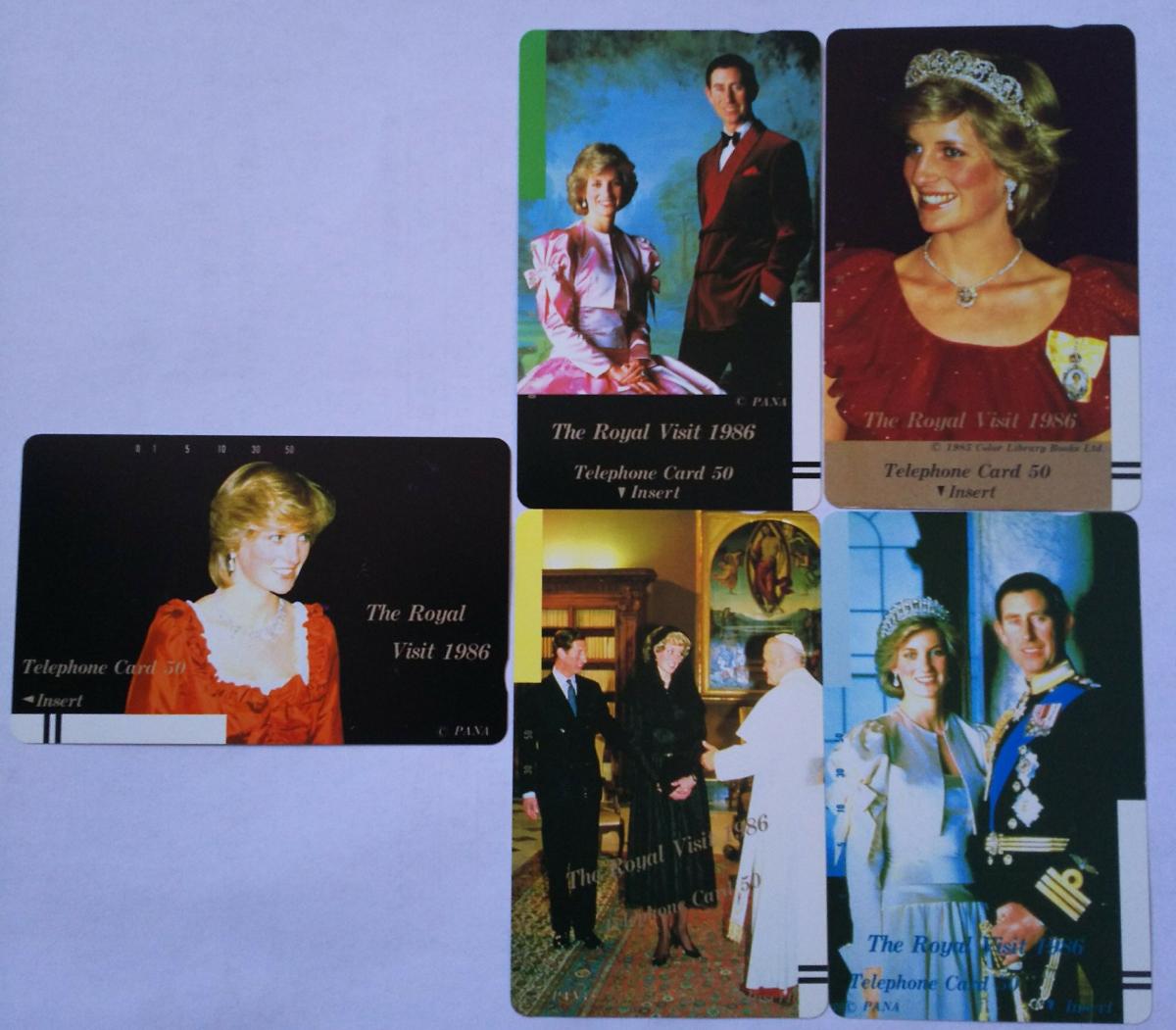 英王室 皇室 チャールズ皇太子 & ダイアナ妃 ロイヤルウエディング 記念 テレホンカード 50度5枚セット / ヘンリー王子 メーガン妃_希少な限定テレカを5枚セットでどうぞ!