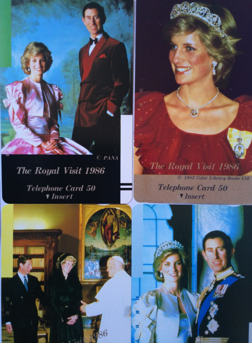 英王室 皇室 チャールズ皇太子 & ダイアナ妃 ロイヤルウエディング 記念 テレホンカード 50度5枚セット / ヘンリー王子 メーガン妃_画像2