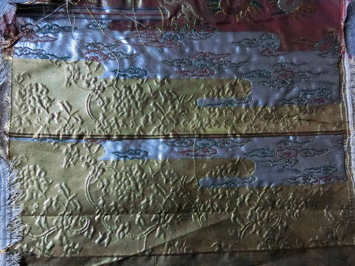 着物帯地 本金青銅箔 端切れ 寸法:幅32×50_画像1