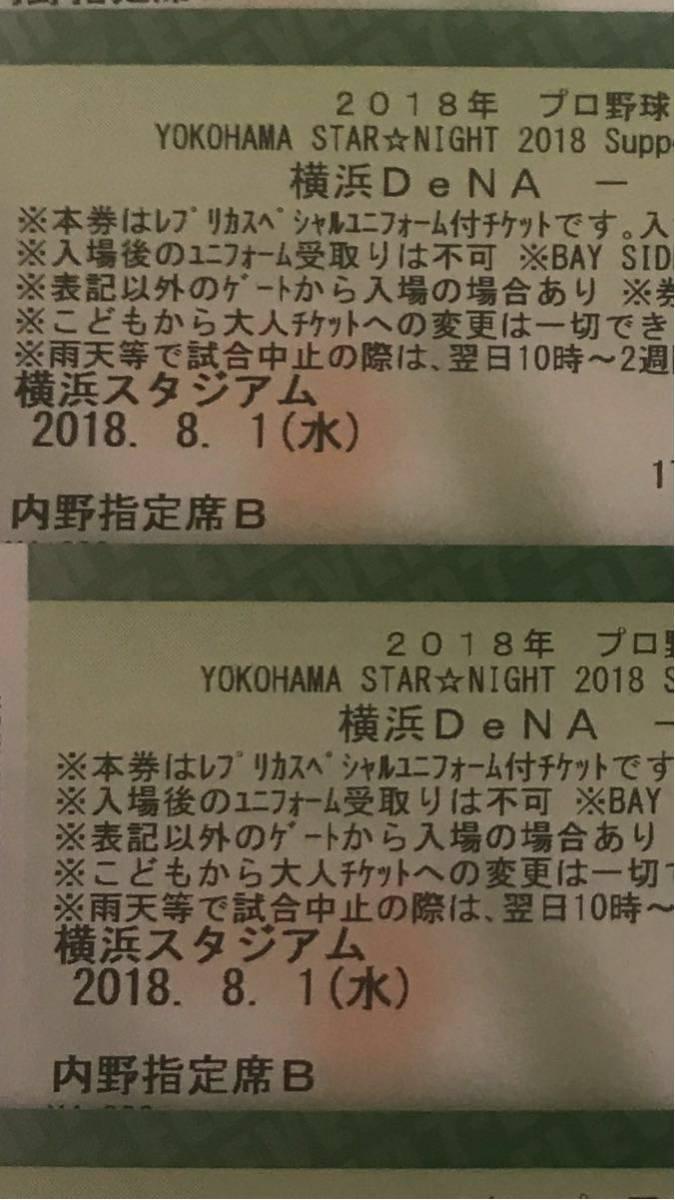 8月1日 スターナイト 横浜DeNAベイスターズVS読売ジャイアンツ 1塁側内野指定席B ペア