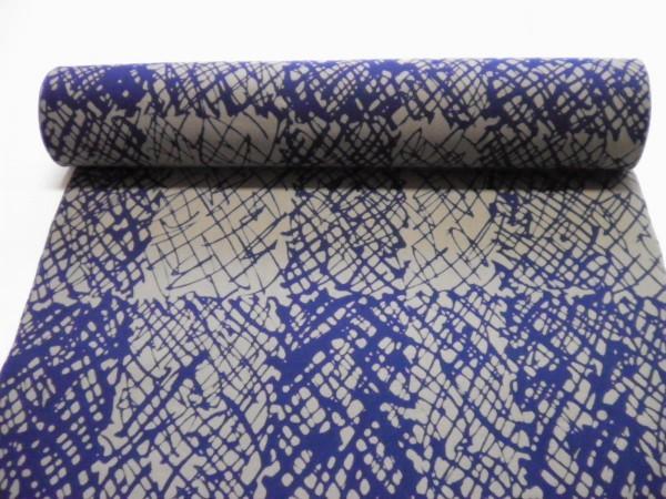 メンズ注染浴衣反物「グレー地に青紺白・線アート市松格子」おしゃれな和楽竺仙七緒の好み 江戸歌舞伎好み_画像3