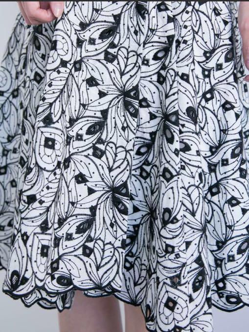 使用1回 美品 プロポーションボディドレッシング ミニドット エンブロイダリーアシメスカート ブラック2 定価10476円_画像5