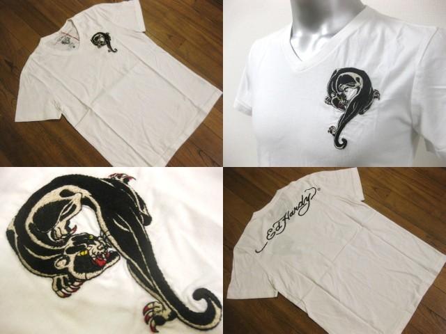 本物 新品 エドハーディー Ed Hardy 刺繍 Vネック 半袖 Tシャツ ホワイト S_画像2