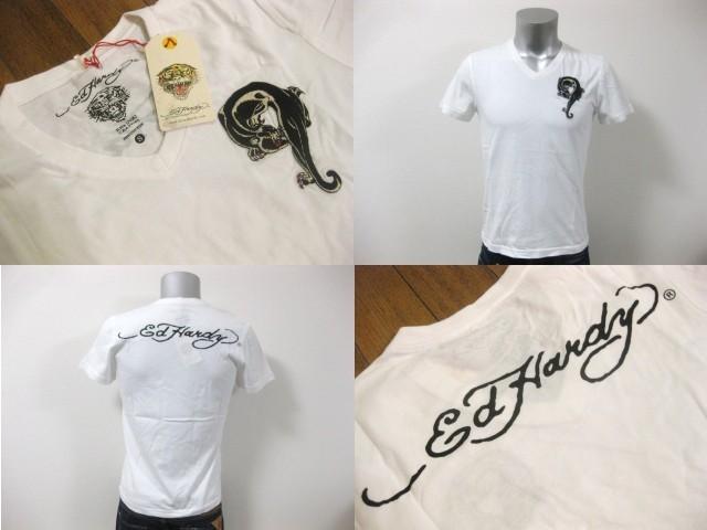 本物 新品 エドハーディー Ed Hardy 刺繍 Vネック 半袖 Tシャツ ホワイト S_画像1