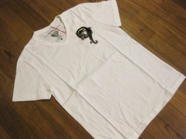 本物 新品 エドハーディー Ed Hardy 刺繍 Vネック 半袖 Tシャツ ホワイト S_画像3