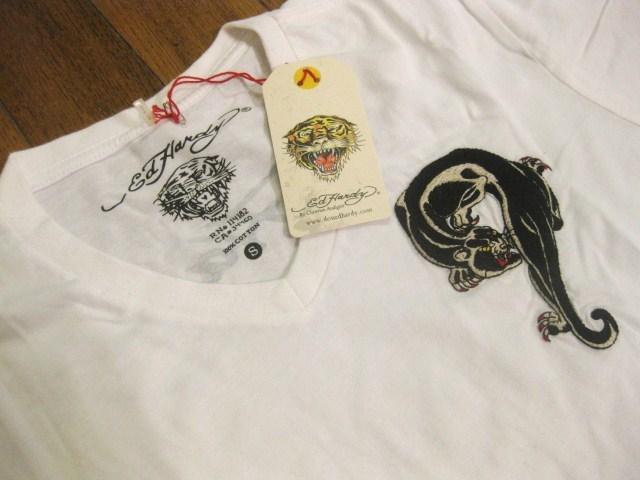 本物 新品 エドハーディー Ed Hardy 刺繍 Vネック 半袖 Tシャツ ホワイト S_画像4