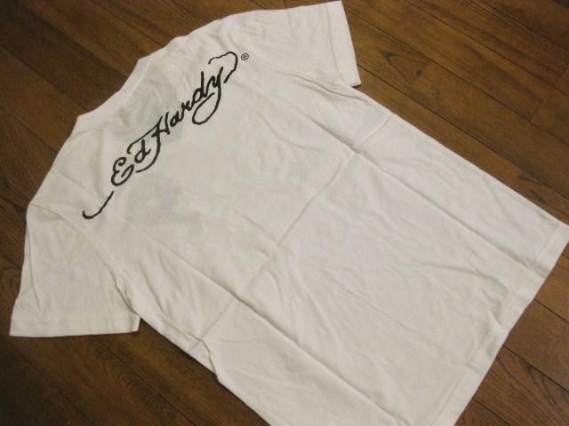 本物 新品 エドハーディー Ed Hardy 刺繍 Vネック 半袖 Tシャツ ホワイト S_画像6