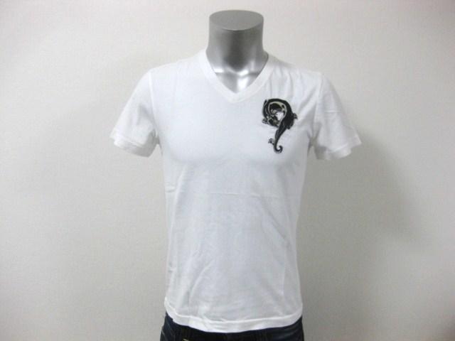 本物 新品 エドハーディー Ed Hardy 刺繍 Vネック 半袖 Tシャツ ホワイト S_画像8