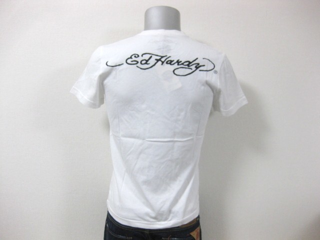 本物 新品 エドハーディー Ed Hardy 刺繍 Vネック 半袖 Tシャツ ホワイト S_画像9