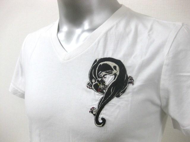 本物 新品 エドハーディー Ed Hardy 刺繍 Vネック 半袖 Tシャツ ホワイト S_画像10