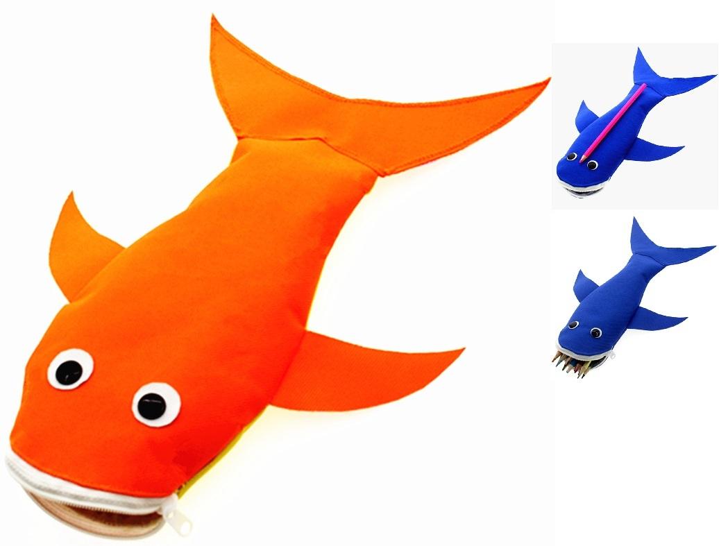 送料無料 魚 ペンケース オレンジ色 筆箱 コスメポーチ 動物 アニマル アイコスケース シガレットケース Po31