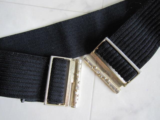 お洒落 ラバーベルト パーティー ベルト 黒 ドレス 幅5cm しっかり太め ドレス ベルト ゴールド バックル ブラック 伸縮性あり レア 特 得_画像4